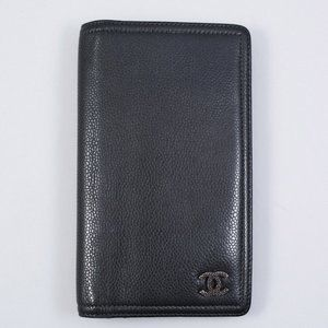 Chanel Dark Grey Grained Leather Wallet